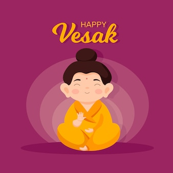 Happy vesak event mit flachem design