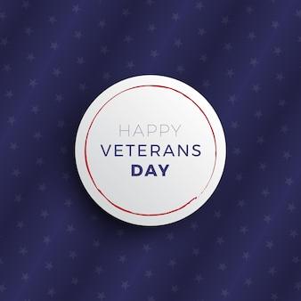 Happy veterans day banner-layout-design mit realistischen 3d-schatten auf dunklem hintergrund mit sternen