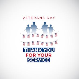 Happy veterans day banner vorlage vereinigte staaten flagge