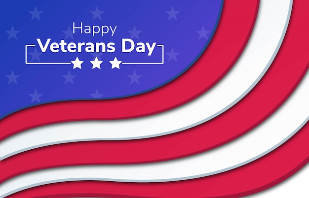 Happy veterans day papercut hintergrund