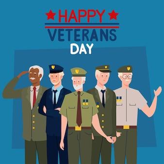 Happy veterans day schriftzug