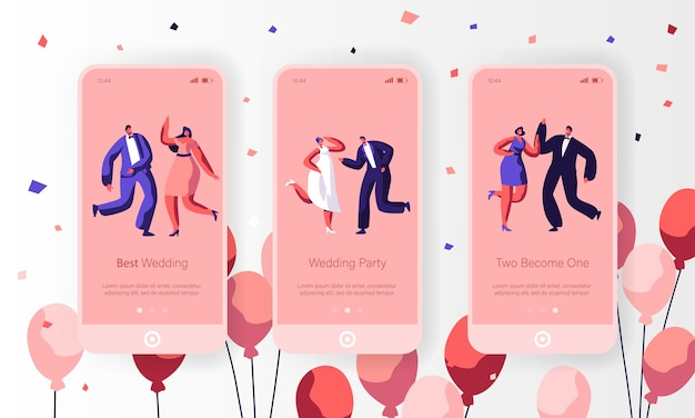Happy wedding dancing character mobile app seite onboard screen set. spaß verheiratetes paar feiern feiertagsereignis. newlywed engagement website oder webseite. flache karikatur-vektor-illustration