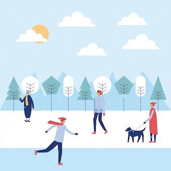 Happy winter menschen urlaub