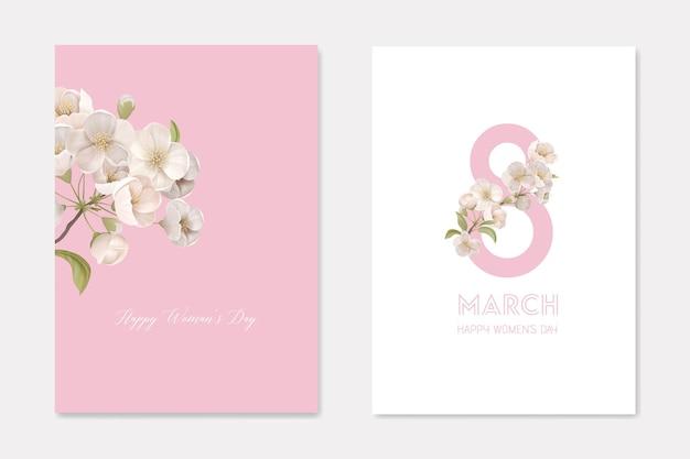 Happy woman's day 8. märz grußkarten set mit cherry branch und acht nummer. weiße kirschblüte blüht dekorative dekorative vorlage. blumenplakat-flyer-broschüre-karikatur-flache vektor-illustration