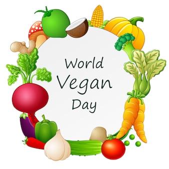 Happy world vegan day konzept mit verschiedenen gemüsesorten auf rahmen