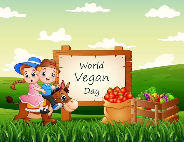 Happy world vegan day mit landwirtschaftlichen produkten und kindern, die auf einem pferd reiten