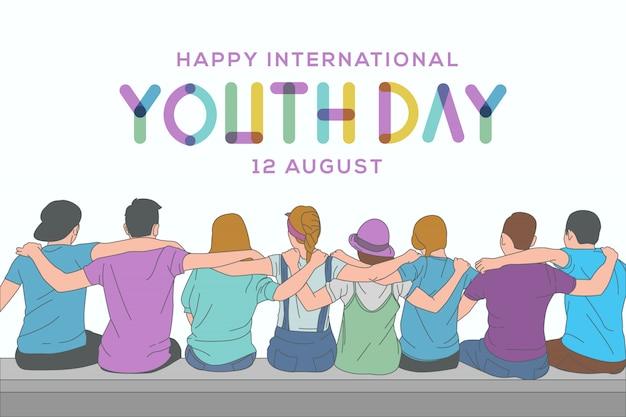 Happy youth day grußkarte mit illustration