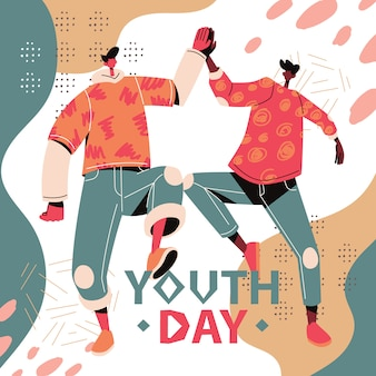 Happy youth day illustration youngster high five