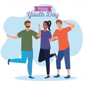 Happy youth day, teen people group, zusammen zur feier des jugendtages