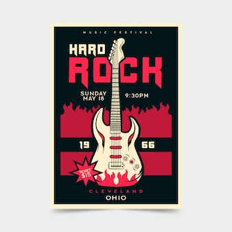 Hard rock festival retro poster