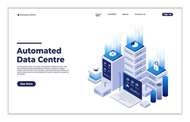 Hardware des globalen elektronischen servernetzes des rechenzentrums für softwarelösungen zum austausch von informationen Premium Vektoren