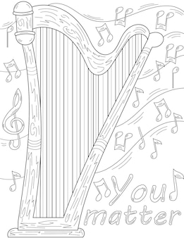 Harfe flach liegend mit mehreren musiknoten schwebende farblose linienzeichnung musikinstrument