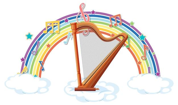 Harfe mit melodiesymbolen auf regenbogen