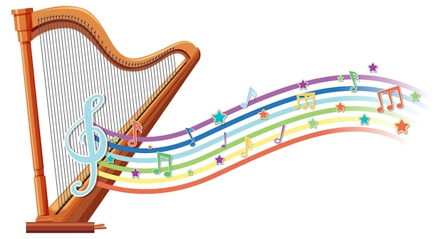 Harfe mit melodiesymbolen auf regenbogenwelle
