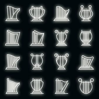Harfe-symbole gesetzt. umrisse von harfenvektorsymbolen neonfarbe auf schwarz