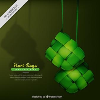 Hari Raya Hintergrund in den grünen Tönen