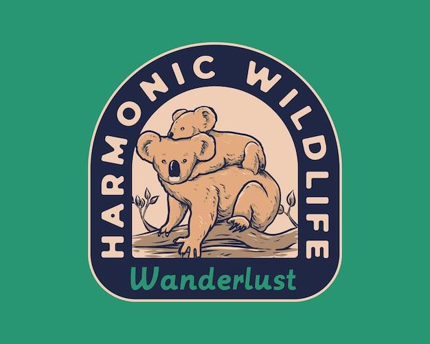 Harmonische tierwelt von koala und jungen vintage abzeichen illustration