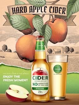 Harte apfelweinwerbung, erfrischendes getränk mit realistischen äpfeln und behältern in der illustration, retro-gravur ländlicher landschaftshintergrund