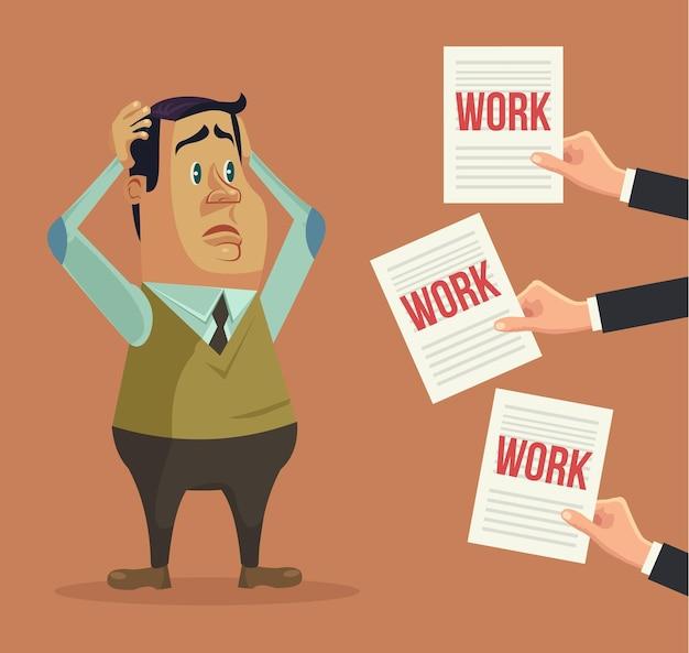 Harte arbeit. beschäftigter mann charakter. hände geben viele werke. flache karikaturillustration