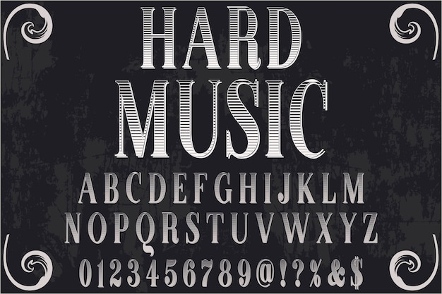 Harte musik des retro-typografie-labels