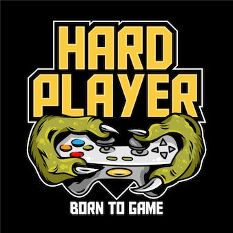 Harte spieler-spielerhände des grünen monsterdinosauriers t-rex, die den joystick-controller des gamepads behalten und videospiele spielen. benutzerdefinierte symboldruck-designillustration für t-shirt-designbekleidung der geek-kulturleute