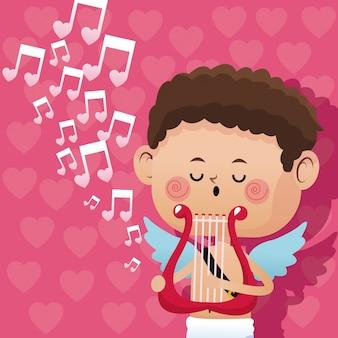 Harter herzhintergrund der glücklichen valentinstag-amormusik romantischer