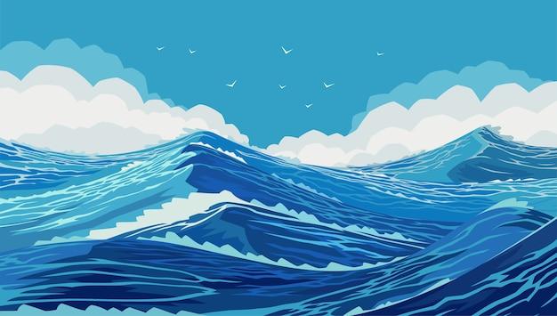 Harter ozean mit großen meereswellen. zeichnung von ozeanräumen. welliges und schönes meer. der pazifik tobt. große und starke blaue wellen. rasende meereswellen im blauen meer. Premium Vektoren