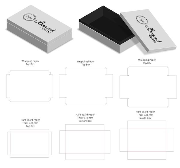 Hartes kartonpapier steifes kastenmodell 3d mit dieline