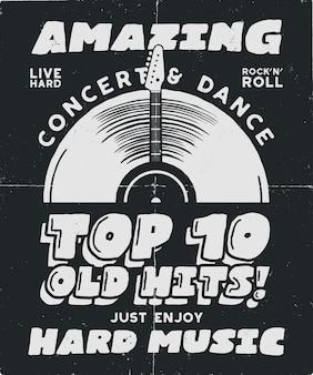 Hartes musikplakat. konzert- und festival-tee-grafik