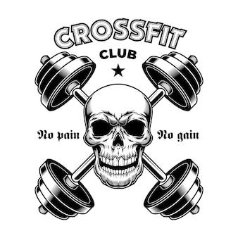 Hartes sportliches fitnessstudio. crossfit vintage emblem, bodybuilder schädel mit hanteln