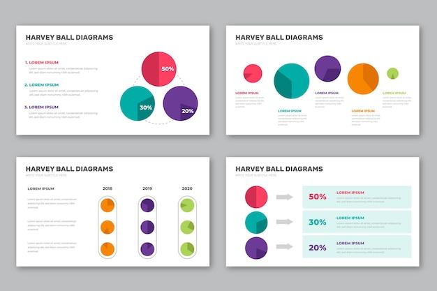 Harvey ball diagramme mit flachem design infografik