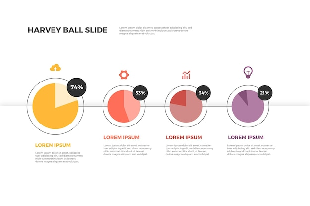 Harvey ball diagramme mit flachem design infografik
