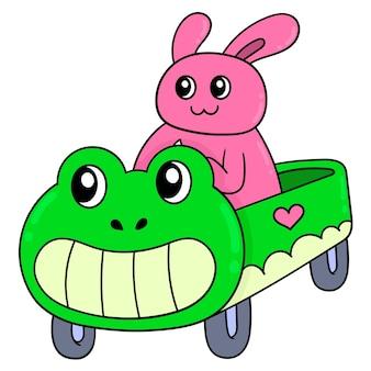 Hase, der ein spielzeugauto in froschform reitet, vektorillustrationskunst. doodle symbolbild kawaii.
