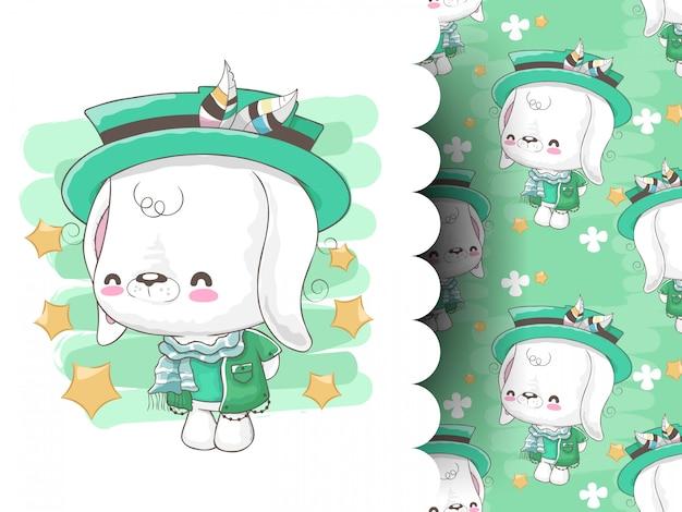 Hase gekleidet in glücklichen kleidern mit niedlichem muster