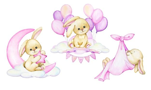 Hase, sitzend auf einer wolke, auf einem hintergrund von rosa luftballons. aquarell cliparts im cartoon-stil.