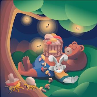 Hase und bär im bogenwald