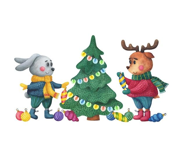 Hase und hirsch schmücken den weihnachtsbaum. süße tiere bereiten sich auf das neue jahr vor.