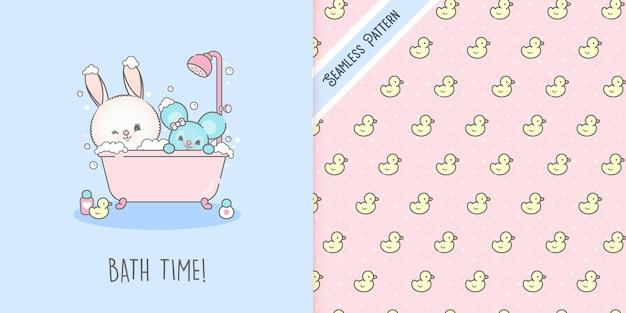 Hase und maus baden mit nahtlosem gummi-entlein premium premium