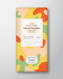 Haselnuss-schokoladen-etikett abstrakte formen vektor-verpackungs-design-layout mit realistischen schatten moder...