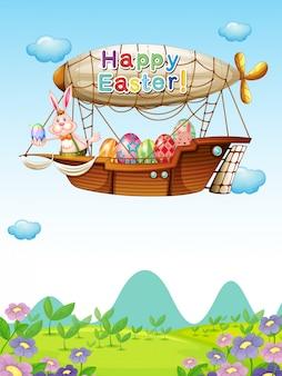 Hasen mit eiern reiten in einem luftschiff