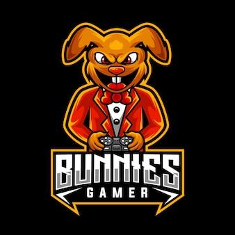 Hasen spieler, maskottchen logo