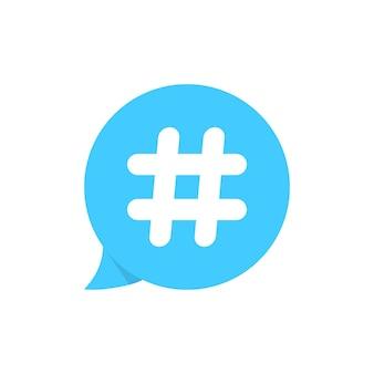 Hashtag auf blauer sprechblase. konzept des mikroblogging, pr, popularität, blogger, gitter, gitter. isoliert auf weißem hintergrund. flacher stil trend moderne kerze logo design vector illustration
