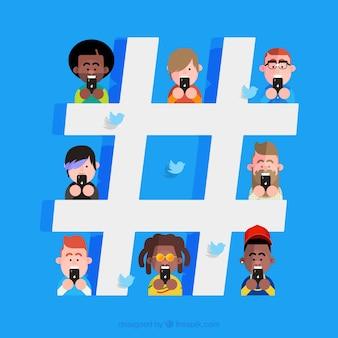 Hashtag-hintergrund mit charakteren