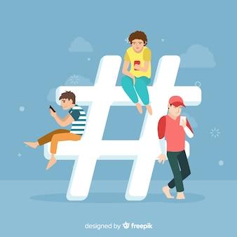 Hashtag-konzepthintergrund der jungen leute