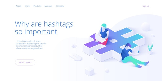 Hashtag profitiert von jungen menschen, die smartphone und laptop verwenden