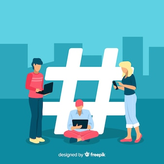 Hashtag-symbolhintergrund der jungen leute