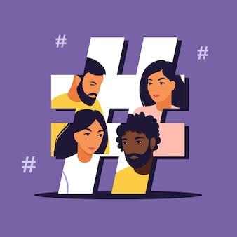 Hashtag und social media konzept. junge leute mit hashtag-symbol. isolierte wohnung.