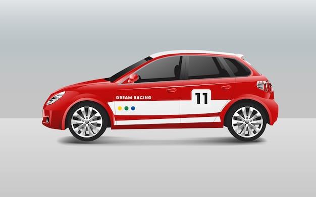Hatchback-rennwagen-designvektor