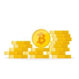 Haufen der goldenen bitcoins im flachen design