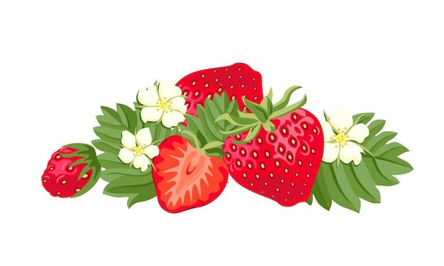 Haufen der roten erdbeere der karikatur mit grünen blättern und blumen.